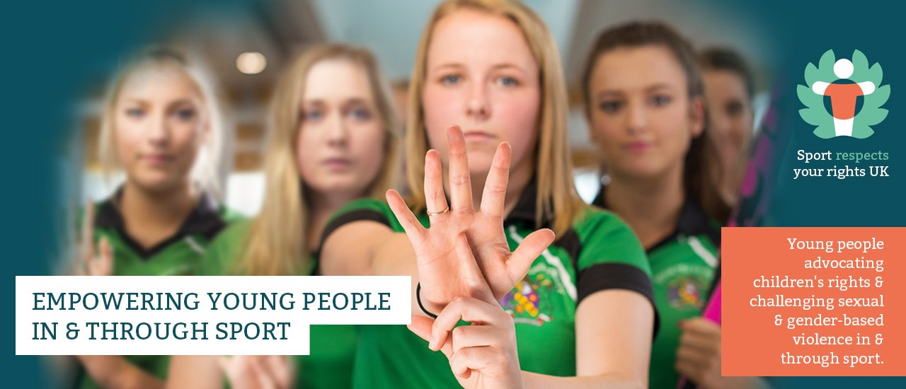 """Sport Respects Your Rights UK banner - featuring Edge Hill hockey team players performing the """"one-in-five"""" hand gesture, with an index finger of one hand presented in front of the open palm of the other."""