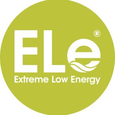 Extreme Low Energy logo, white text on a lime green background