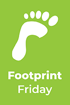 Foot print Friday text, info graphic foot with a green background