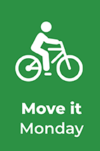 Move It Monday text, info graphic person on a bike with a green background