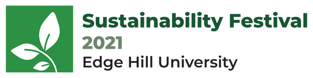 Sustainability Festival Logo with info graphic of white leaves on green background