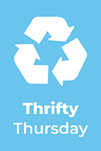 Thrifty Thursday text, info graphic 3 recycle arrows with a blue background