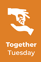 Together Tuesday text, info graphic hand holding a leaf with a brown background